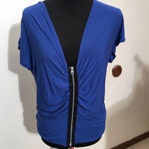 Max Studio scoopneck blouse bright blue size L